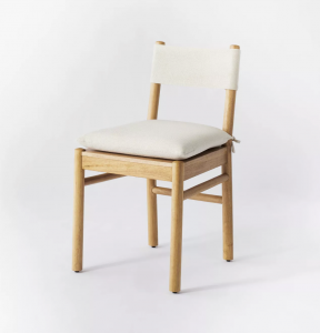 Emery Wood Dining Chair with Upholstered Seat and Sling Back Natural