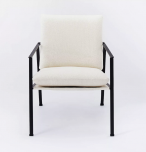 Lark Metal Frame Accent Chair with Loose Cushions White