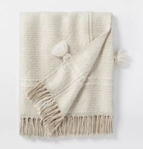 Woven Plaid Cotton Acrylic Throw Blanket
