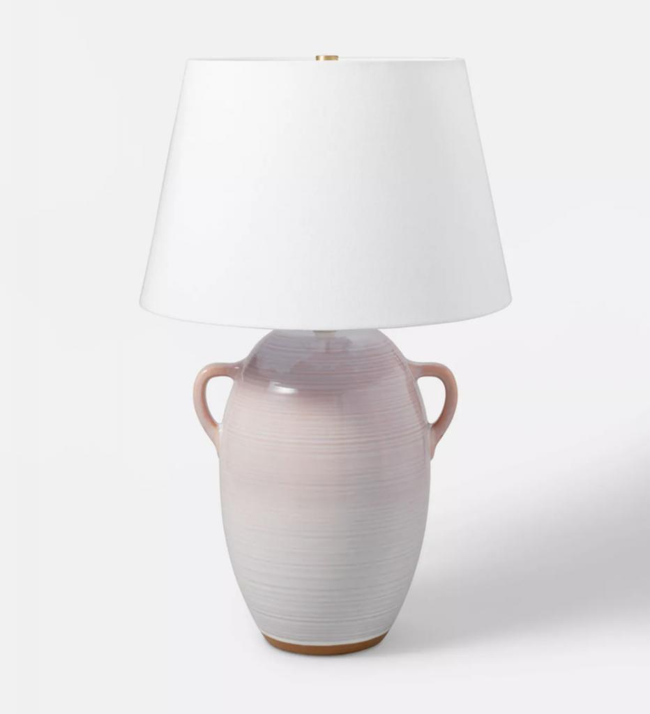Large Ceramic Jar Table Lamp Gray