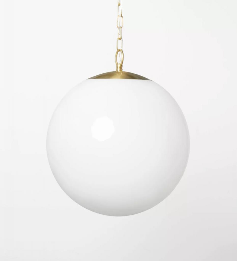 Milk Glass Ceiling Pendant Brass
