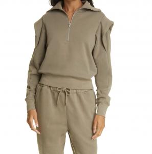 Shoulder Detail Half Zip Sweatshirt
