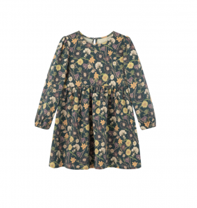 Kids Long Sleeve Floral Print Dress