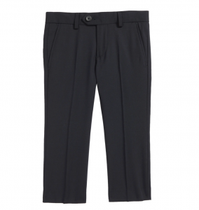 Solid Wool Blend Flat Front Trousers