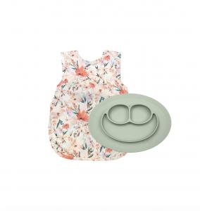 Peachy Dreams Bib Apron & Mini Silicone Feeding Mat