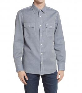 Trim Fit Waffle Button-Up Shirt