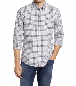 Walker Tailored Fit Gingham Stretch Button-Down Shirt