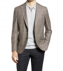 Karl Slim Fit Box Plaid Wool Blend Sport Coat