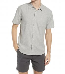 Neppy Short Sleeve Hemp Blend Button-Up Shirt