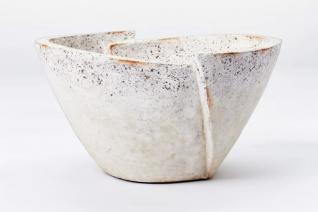 Decorative Sculptural Geometric Folded Bowl Cream