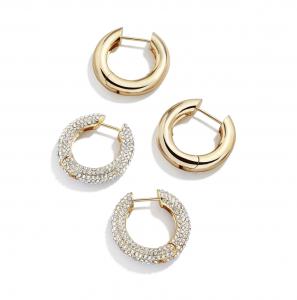Set of 2 Polished & Pavé Hoop Earrings