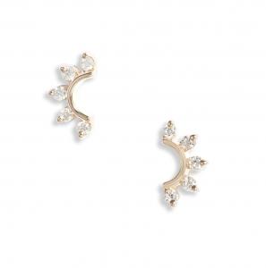 Diamond Curve Stud Earrings