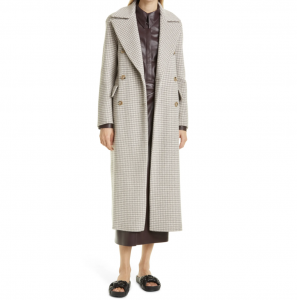 Lana Check Double Breasted Wool & Silk Coat