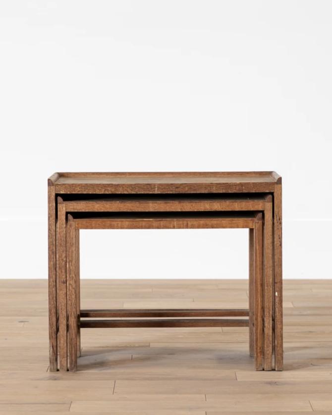 Vintage Wooden Nesting Tables (Set of 3)
