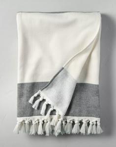 Bold Stripe Cotton Beach Towel Black/Sour Cream