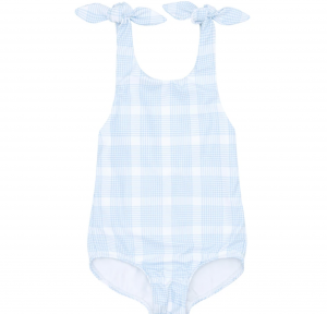 Girls Sunwashed Plaid Tie Knot One Piece