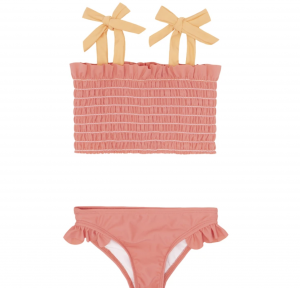Girls Coral Smocked Bikini