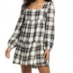 Plaid Long Sleeve Minidress
