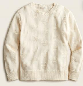 Girls' Cotton Heart Texture Sweater