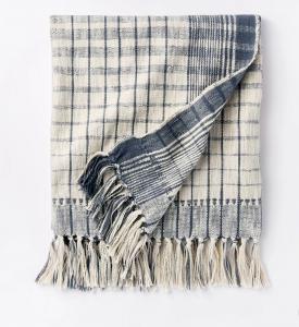 Woven Cotton Plaid Throw Blanket