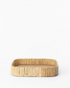 Rounded Rattan Tray