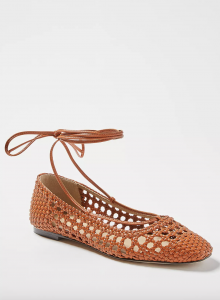 Lydia Woven Leather Ankle Wrap Flats