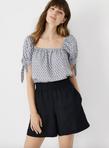Paisley Square Neck Puff Tie Sleeve Top
