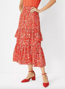 Floral Tiered Ruffle Midi Skirt