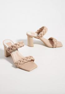 Braided Heeled Slide Sandals