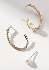 Pearl-Embellished Sparkle Cuff Earrings