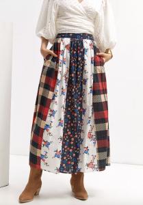 Contrast Maxi Skirt