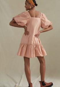 Puff-Sleeved Tunic Dress