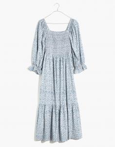 Lucie Elbow-Sleeve Smocked Midi Dress in Sunflower Field