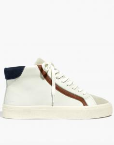 Sidewalk High-Top Sneakers in Colorblock Leather
