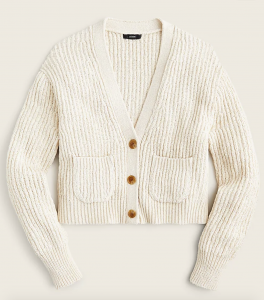 Cropped Patch-Pocket Beach Cardigan Sweater