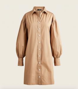 Puff-Sleeve Cotton Poplin Mini Shirtdress