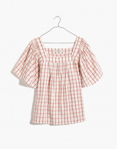 Square-Neck Pintuck Butterfly Top in Windowpane
