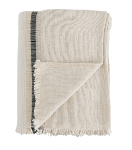 Helena Soft Fringe Black & Cream Blanket