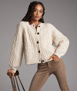 Quince Cable-Knit Wool Cardigan