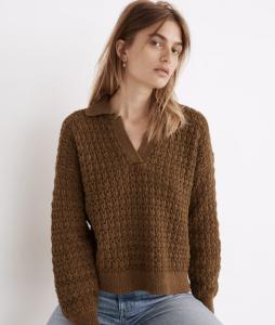 Sunbury Open-Stitch Polo Sweater