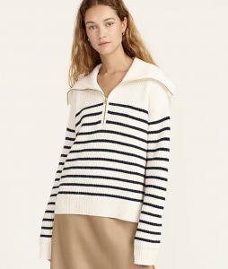 Cashmere Half-Zip Pullover Sweater in Stripe