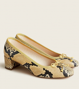 Kate Ballet Pumps in Snake-Print Leather