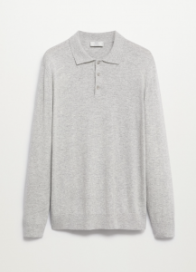 Long-Sleeved Wool Knit Polo Shirt