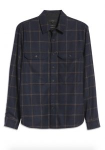 Crosshatch Windowpane Recycled Wool Blend Shirt Jacket