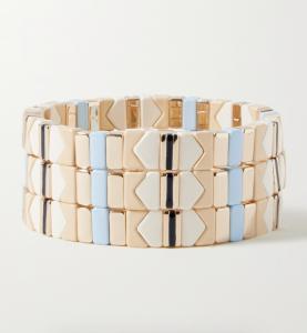 Linen Set of Three Enamel and Gold-Tone Bracelets