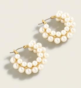 Layered Mini Pearl Hoop Earrings