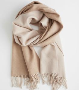 Two-Tone Wool Blanket Scarf
