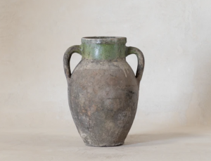 Vintage Dual Handled Green Jar