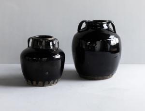 Vintage Black Handled Jar