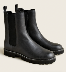 Gwen Lug-Sole High-Shaft Chelsea Boots in Leather